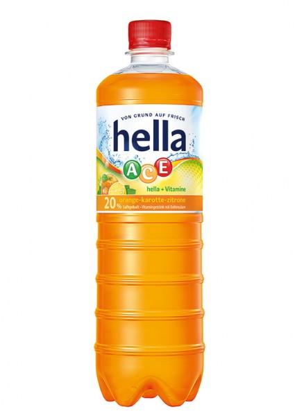 Hella ACE PET Orangen-Karotten-Zitronen-Vitamingetränk (12 x 1 Liter)