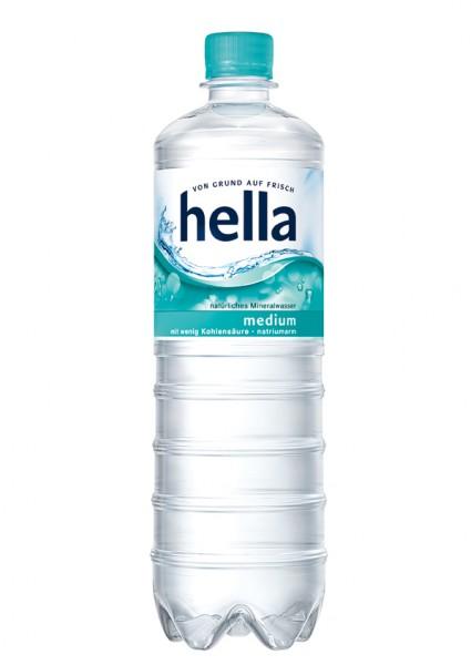 Hella Mineralwasser medium PET (12 x 1 Liter)